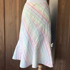 ODILLE Anthropologie skirt white w/ pastel stripes